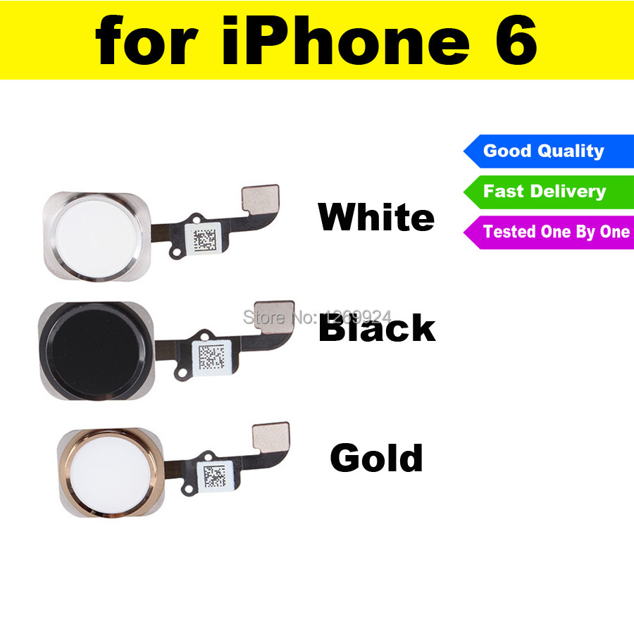 FREE SHIPPING Home Button Sensor Ribbon Flex Cable White Gold Black Complete Assembly Spare Part Replacement For iPhone 6 6G(China (Mainland))