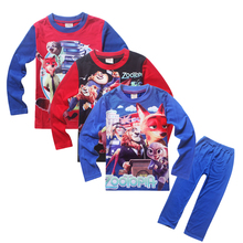 New cartoon Zootopia pijamas kids boys girls long sleeve brand cotton sleepwear set for 3-12Y retail