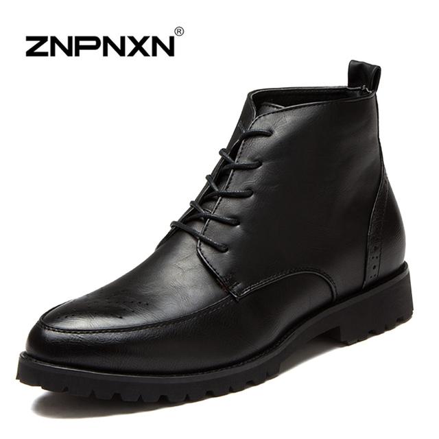 Мода высокие ботильоны мужчин обувь из натуральной кожи ботильоны оксфорды обувь ...