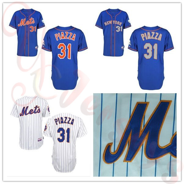 2015 New Arrival 31 mike piazza jersey New York Mets Baseball Jerseys strip blue cheap Authentic sport best buy direct china(China (Mainland))