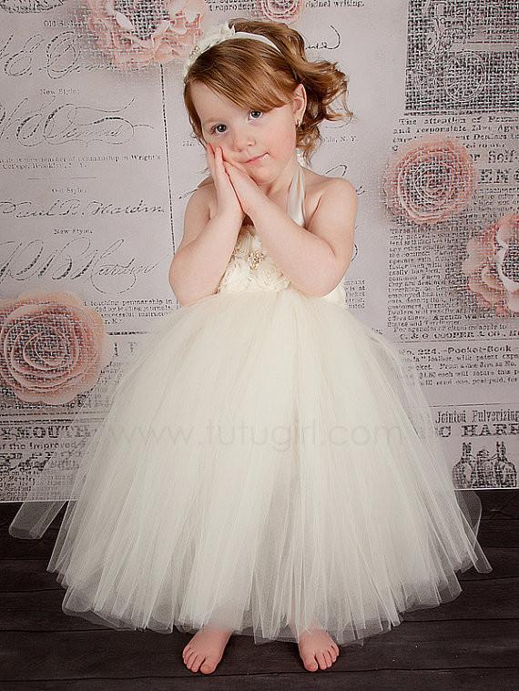 Handmade Ivory Flower Girl Dress Girls Party Tutu Dress Toddler Birthday Dress Baby Wedding Tutu Dress 2T/3T/4T/5T/6T/7T/8T(China (Mainland))