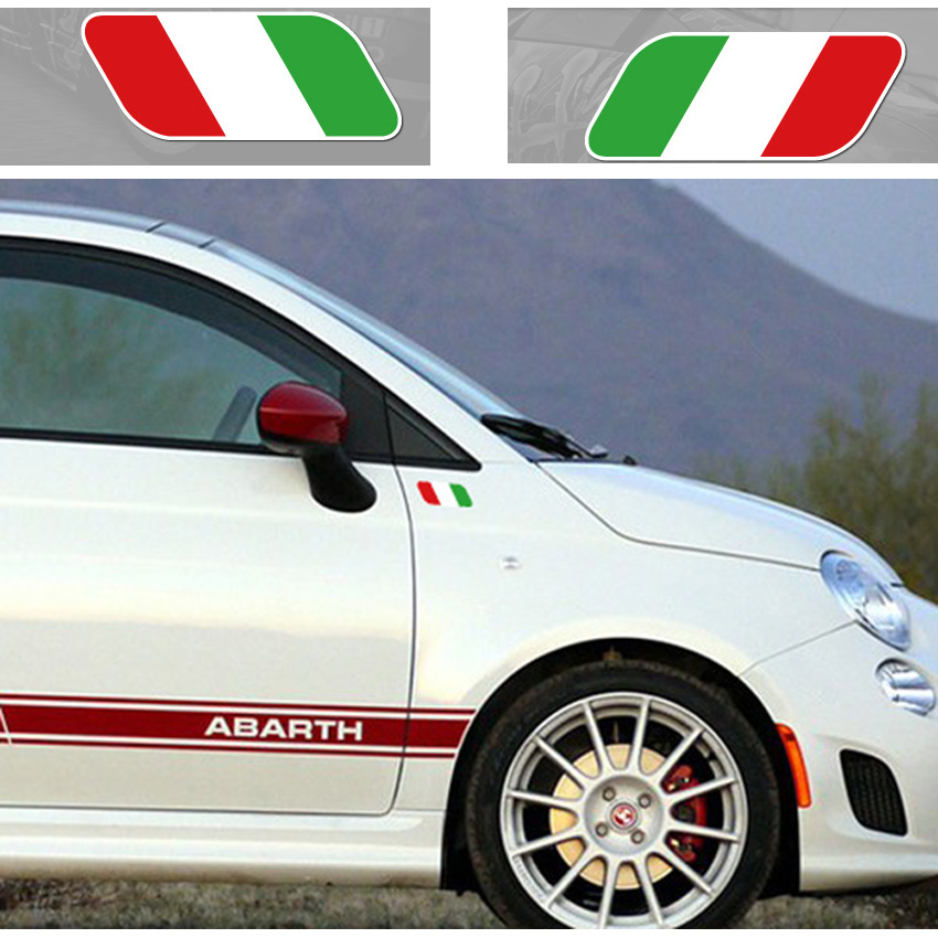 2PCS Styling Italian Flag Auto Window Decal Stickers Universal Reflective Car Side Fender Stick for Fiat for Abarth(China (Mainland))