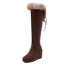 Gdgydh Große Größe Echtpelz Stiefel Frauen Schwarz Weibliches Über das Knie Stiefel Lange High Heel Frauen Winter Schuhe 2018 neue Winter(China)