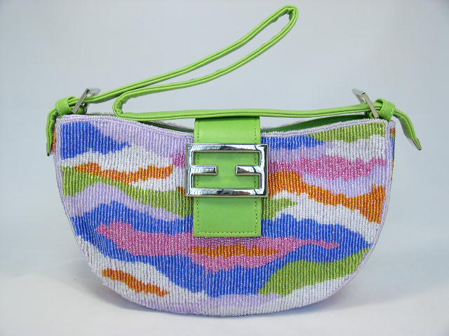 FREE S/H Multi Color Colorful Fully Beaded Animal Handbag Clutch Green Strap(China (Mainland))