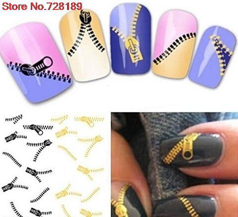 waterproof Water Transfer Nails Art Sticker classics cartoon zipper design lady women manicure tools Nail Wraps XF1268(China (Mainland))