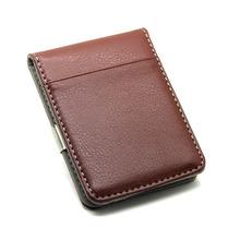 Fashion 2Colors Black Brwon Men Slim Money Clip Leather Billfold Stainless Steel Clips Luxury Men Wallets