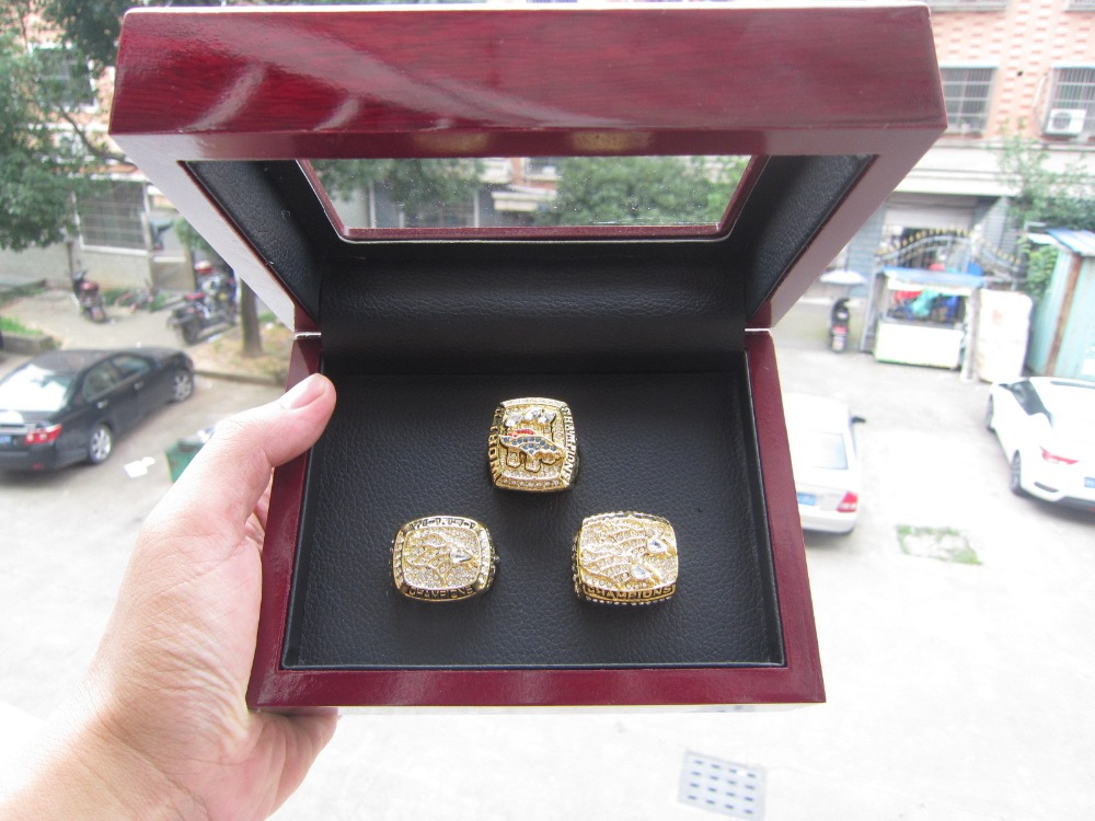 1997 1998 2015 Denver Broncos SUPER BOWL RING FOOTBALL REPLIA RING Championship RING 3 pcs solid high quality with wooden box(China (Mainland))