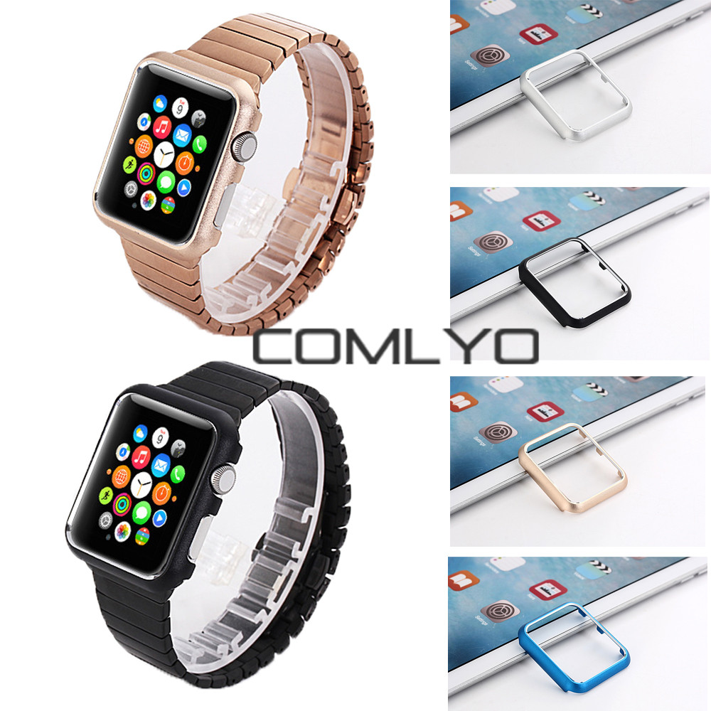 COMLYO For iwatch case band Aluminum For Apple Watch Case 38mm 42mm luxury Metallic Sport Armor Metal Tough Hard farme cover(China (Mainland))