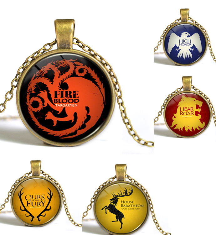 Game of Thrones The Song Of Fire And Ice Necklace Glass Cabochon Necklace Fashion Statement Choker Necklace 5 Designs Options(China (Mainland))