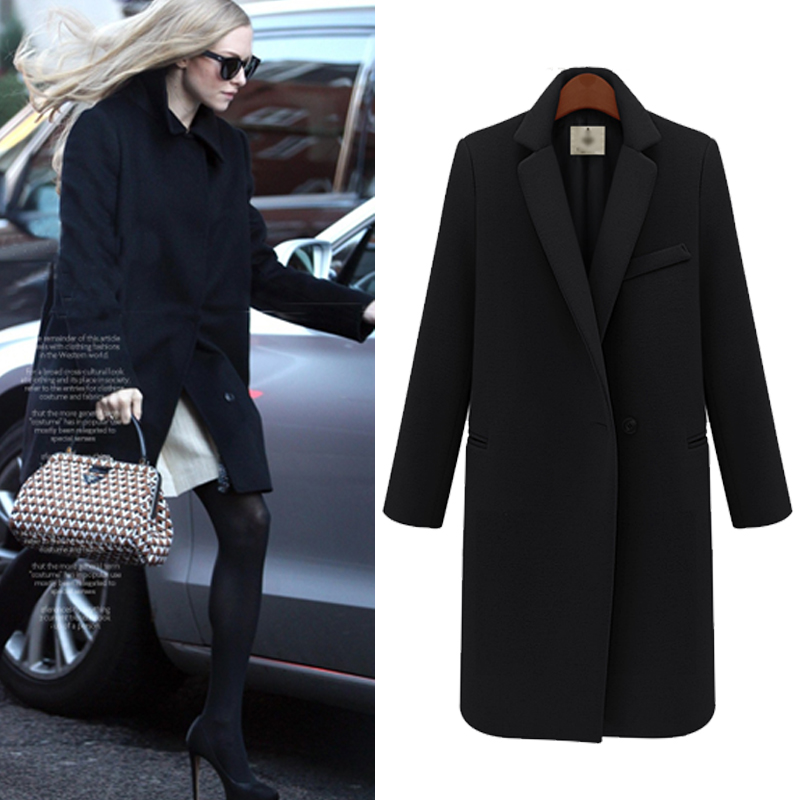 2015 New Design Fall/Winter Fashion Overcoat Women Clothing Classic Lapel Double Pocket Longline Wool Oversized Coat WO-012