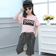 Buy 4 6 8 10 11 12 13 Years Kids Tracksuit Summer Set Girls School Uniform Letter Short Sleeve T Shirt + Pant Girls Clothes Set for $15.68 in AliExpress store
