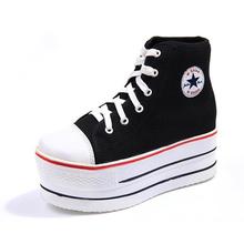 Korea Star Super Thick Women Casual Shoes High Top Black Women Flat Platform Shoes Lightweight Fashion Breathable Shoes D12 35