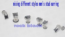 men's stud earring with black zircon mixing different styles body jewelry(China (Mainland))