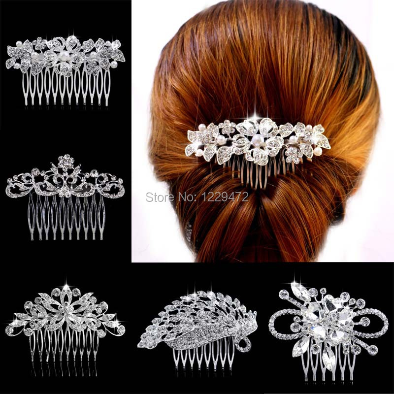 Leaf Flower Butterfly Designs Wedding Tiara Diamante Silver Plated Crystal Pearl Hair Combs Hairpin Bridal Jewelry Accessories(China (Mainland))