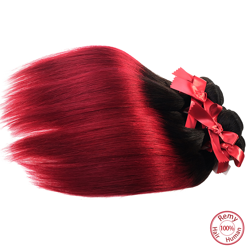 EVET Brazilian Virgin Hair Straight Wave Unprocessed Ombre Silky Straight Human Hair Weavings 1pcs Two Tone Hair Wefts 50g/pcs(China (Mainland))