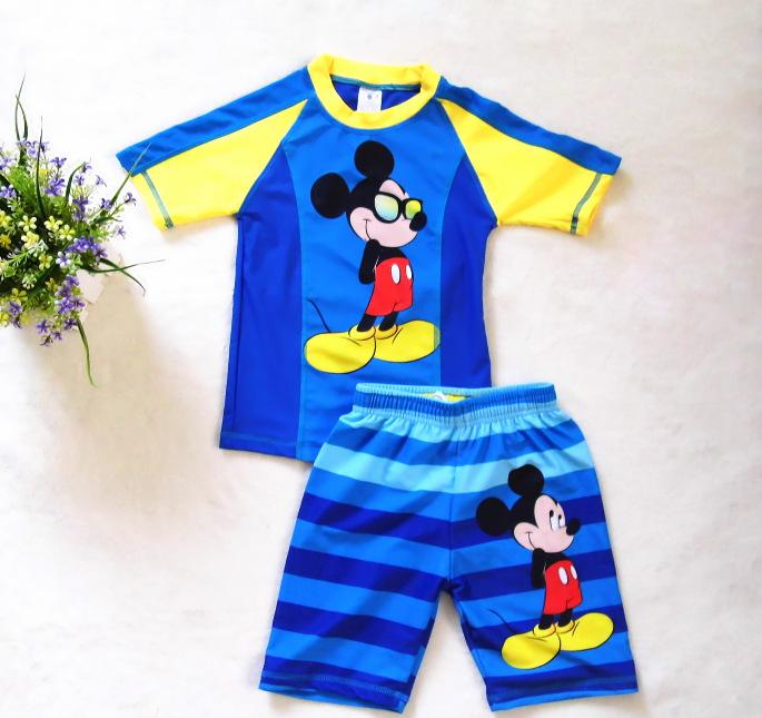 boys swimwear rash guard Mickey swimsuit swimwear children boy cartoon blue high quality two pieces(China (Mainland))