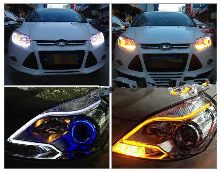 2 x 60cm LED car light Headlight Angel eye Flexible strip Daytime Running Light Turn Signal lamp DRL Styling fog parking - SUN-SPEED AUTO TRADE CO.,LTD store