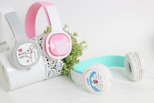 2016 Hello Kitty Headphone with Mic for Iphone 5 5s 6 6plus cute music stereo kids mobile phone headset cartoon headband X21