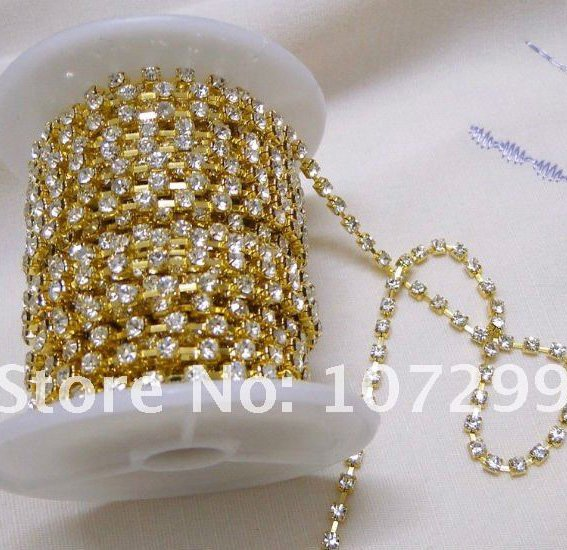 50% off! Only 3 Days!! TRACKING No.--10yd 3mm A-Grade Rhinestone Gold Diamante Chain Craft(China (Mainland))