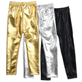 2017 New style Spring and Autumn 4 8years skinny Gold Black Red Silver kid leather pants