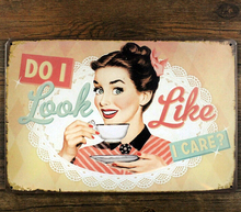 "SP-KF-32 Free shipping ""sexy lady and coffee "" retro vintage metal tin signs painting home decor poster wall art craft 20X30cm(China (Mainland))"