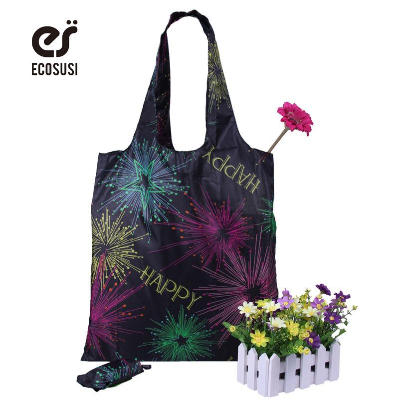 Ecosusi Rose Printing Foldable Reusable Shopping Bags Promotional Bags EcoTote Bag shopping bag(China (Mainland))