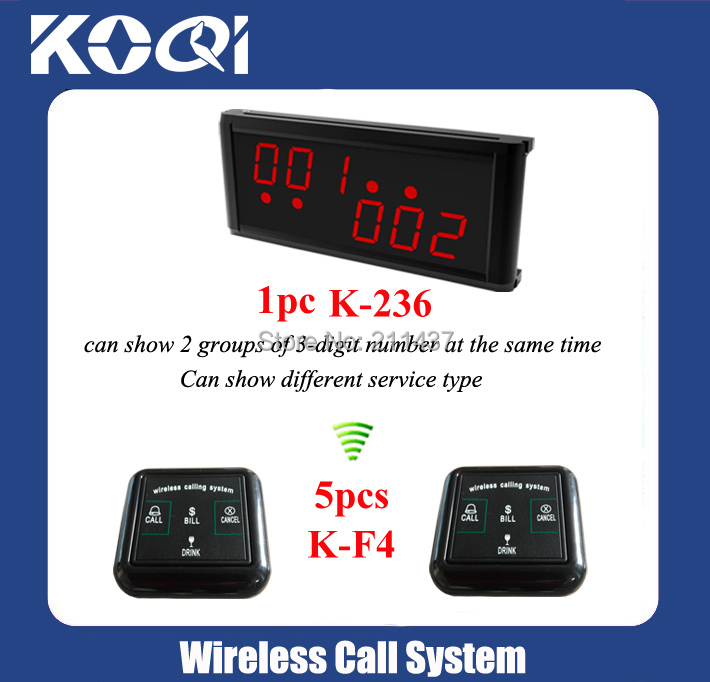 Most popular 5pcs K-F4 wireless service call button + K-236 good Performance display electronic queue management system(China (Mainland))