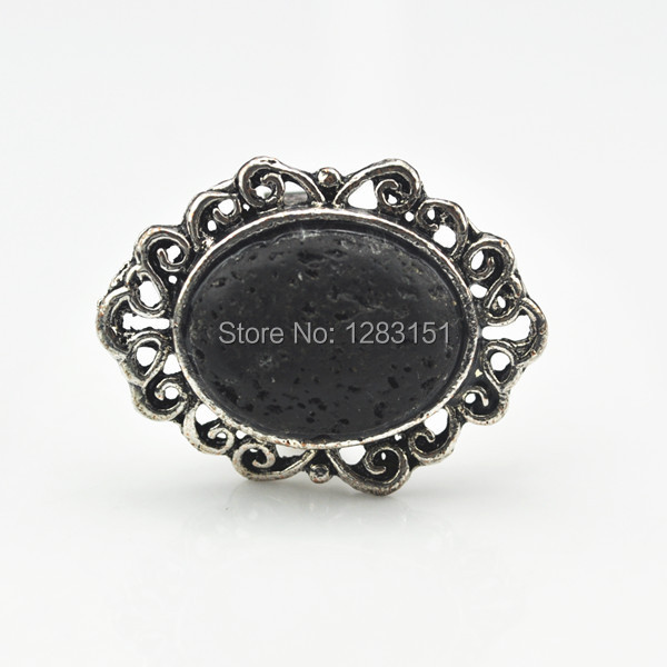 Toonykelly R139 Adjustable Lava Rock Stone Ring Vintage Look Tibetan Antique Silver Plated Black Volcano(not plastic or resin)(China (Mainland))