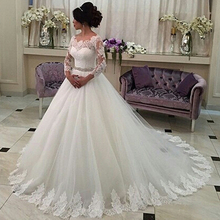 Lace Tulle Ball Gown Wedding Dress 3/4 Lace Sleeve 2016 Applique Bridal Dress Vestido de Noiva Beaded Sash Manga Longa YY023(China (Mainland))