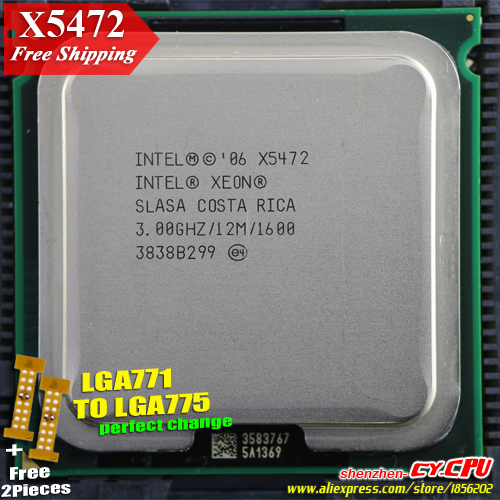 Intel Xeon X5472 3.0GHz/12M/1333 Processor close to LGA771 Core 2 Quad Q9650 CPU, works on LGA 775 mainboard 2 Pieces Free(China (Mainland))