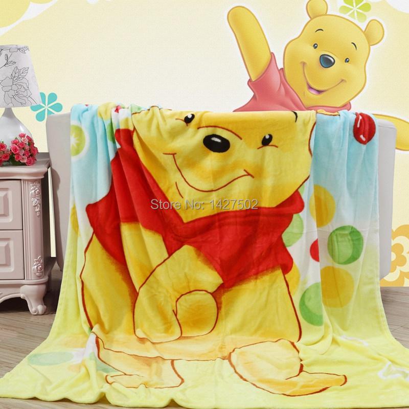 New Spring summer 100% Rainbow Winnie the Pooh cartoon coral fleece flannel fabric super soft air-condition blankets 150*200cm(China (Mainland))