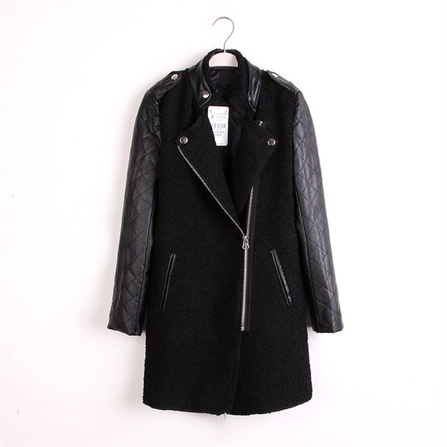 2016 Brand Autumn Winter Fashion Outerwear Women's Leather Sleeve Wool Coat Lady Stand Collar Zipper Long Style Trench Overcoat