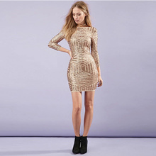 New European Gold Women Dresses Sexy Backless Bodycon Women Dresses Luxury Sequined Dress for wholesale and free shipping(China (Mainland))