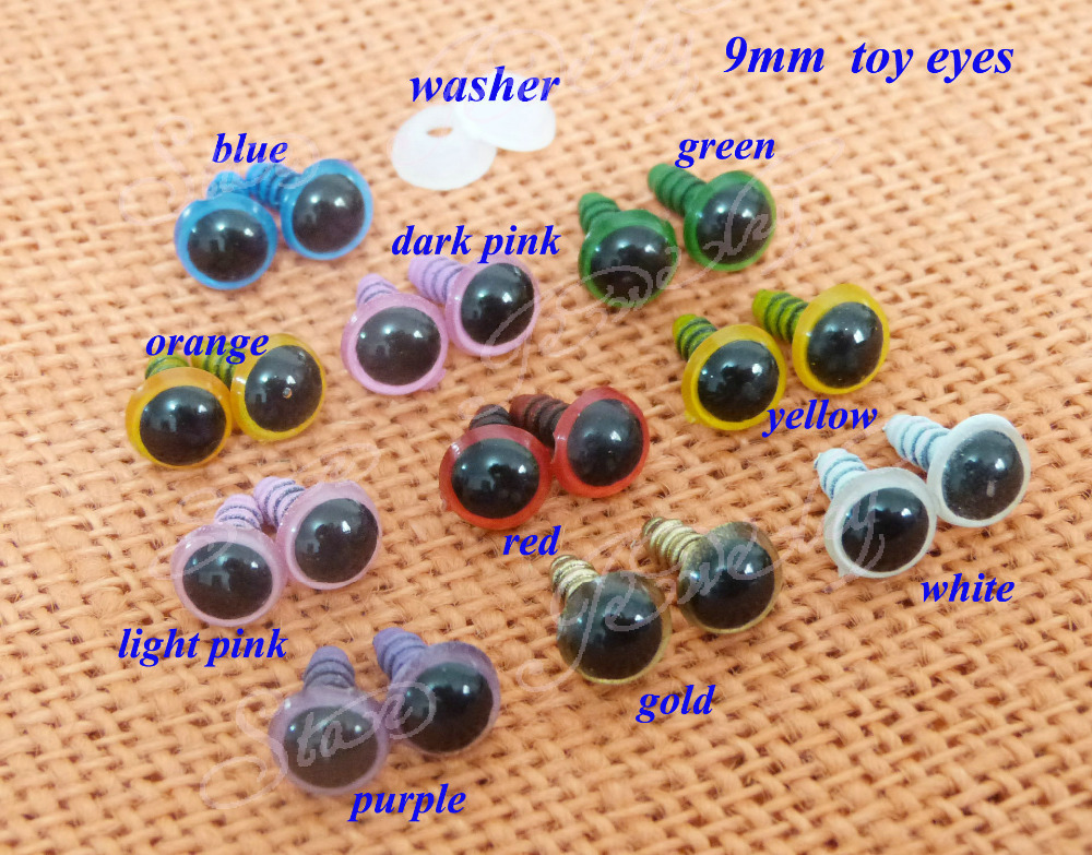 9mm plastic safety toy eyes & white washers for DIY plush animal doll materials--40pcs(China (Mainland))