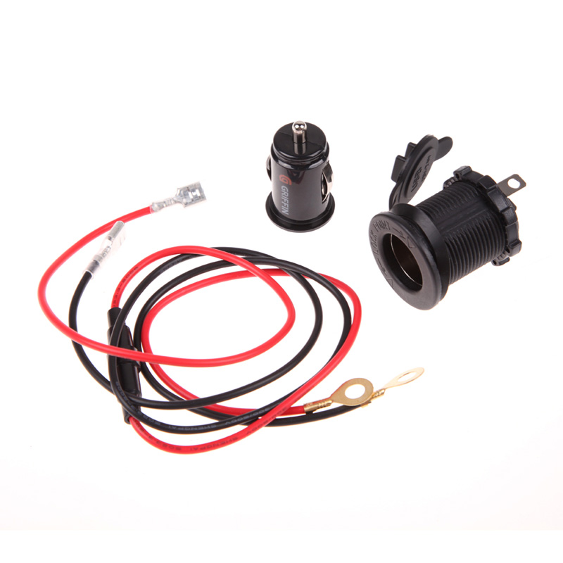12V 60cm Cable Car Motorcycle Cigarette Lighter Socket 2 USB Charger Adapte Free Shipping(China (Mainland))