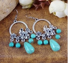 2014 New Arrival Free Shipping Bohemia Tibet Jewelry Vintage Turquoise Retro Flower Drop Earring 1pair for Women Hot MK-06(China (Mainland))