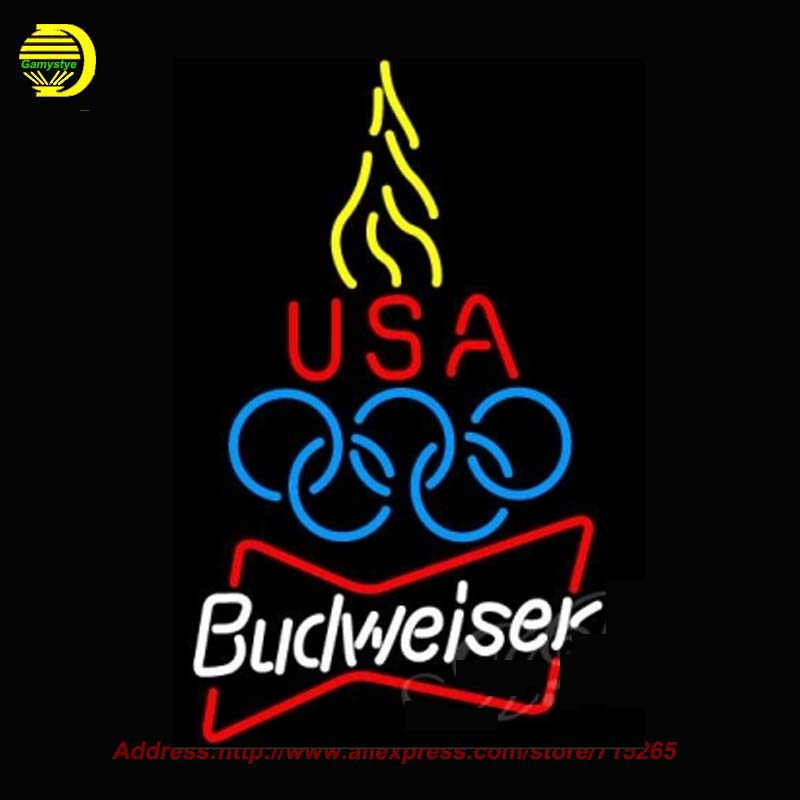 Budweiser Olympic Torch Beer Neon Sign HandCraft Decoration Windows Neon Bulb Glass Tube Beer Signs Lighted Attract Bright 31x24(China (Mainland))