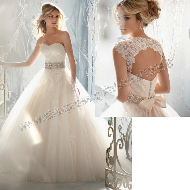 Sweetheart Detachable Cap Sleeve Lace Wedding Dress With Crystals Sash