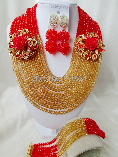 Luxury  red  Crystal  Necklaces Bracelet Earrings African Nigerian Wedding Beads Jewelry Set  A-8877<br><br>Aliexpress