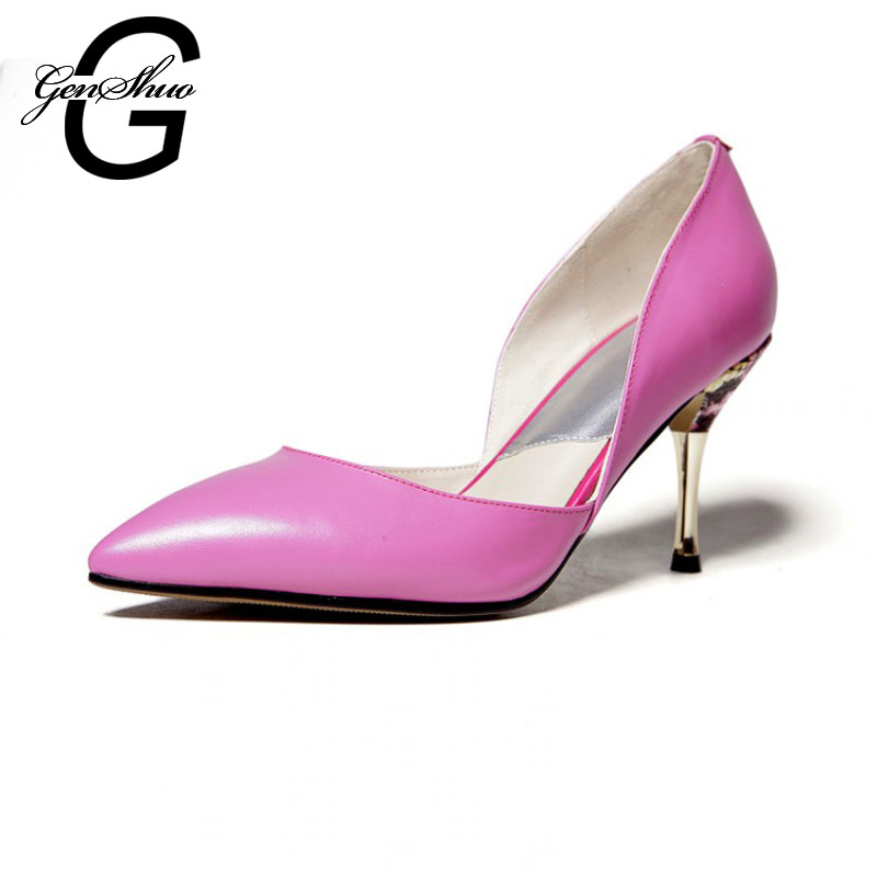 Plus Small Size 33-40 New 2016 Pointed Toe OL Women Pumps Genuine Leather Thin Heels Women High Heels Shoes Woman<br><br>Aliexpress