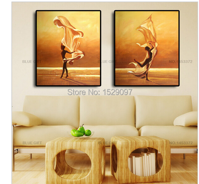 framed!! ,100% handpainted 2 piece modern decorative oil painting on canvas wall art flower picture for living room unique gif(China (Mainland))