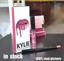 2016 New Lip Gloss Lipstick Kylie lip Kit Eyeliner lip gloss liquid lipstick matte 8 colors kylie jenner 2pcs/set(China (Mainland))