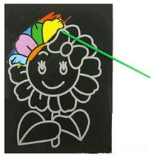 3pcs Child Kids Magic Scratch Art Doodle Pad Painting Card Educational Game Toys Early Learning Drawing Toys ,1LOT=6 Designs S27(China (Mainland))