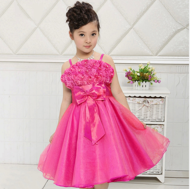 2015 Limited Hot Sale Girls Baby Foreign Trade Of The Original Single Strap Dress Child Princess Flower Children Show A Generati(China (Mainland))