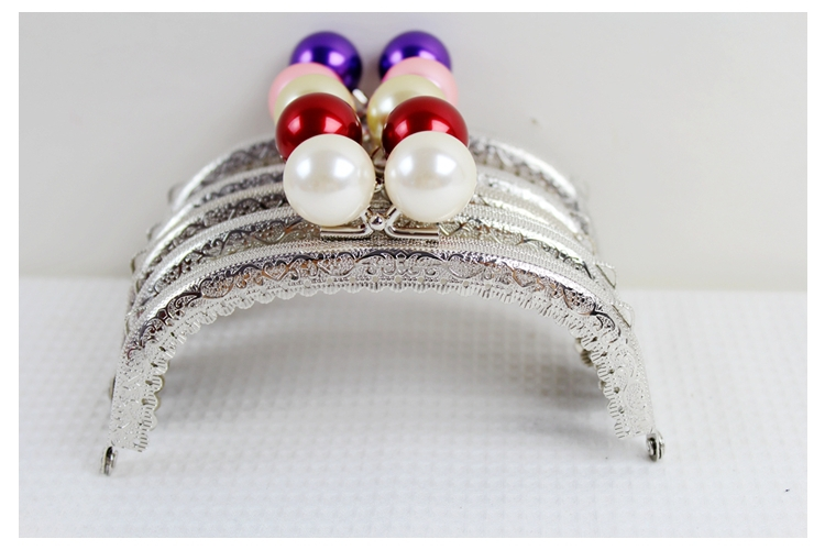Free shipping/5color /12.5cm Sliver Pearl Beads Arc Candy Bead Purse Frame Handle for Bag Sewing Craft Tailor Sewer/wholesale(China (Mainland))
