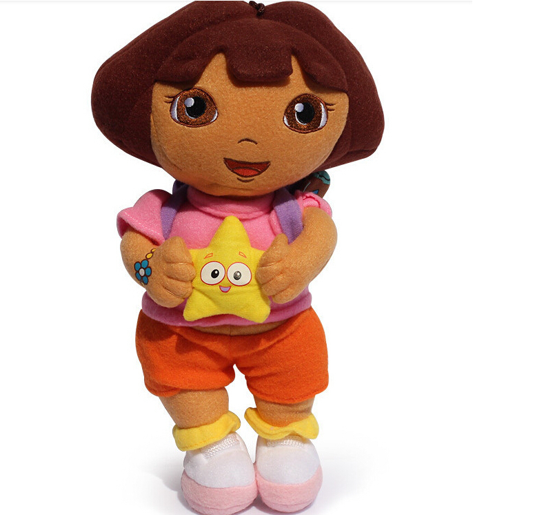 "1pcs 11""25cm 2015 New style so lovely Dora the Explorer with Star Extra Large Plush Doll dora explorer baby Toy(China (Mainland))"