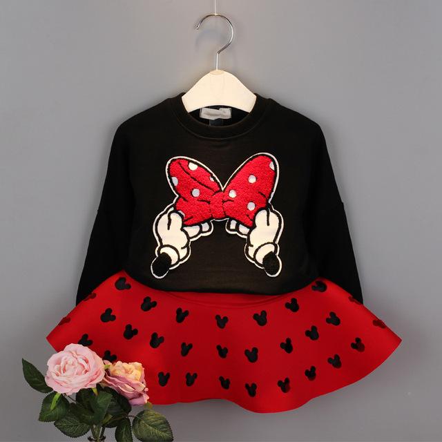 Новый бренд красный и черный девушки весной одежды костюм малыш мультфильм хлопок ...