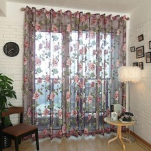 Factory Price! Elegant Floral Curtain Tulle Voile Window Curtain Panel Sheer Drape Scarf Valances(China (Mainland))