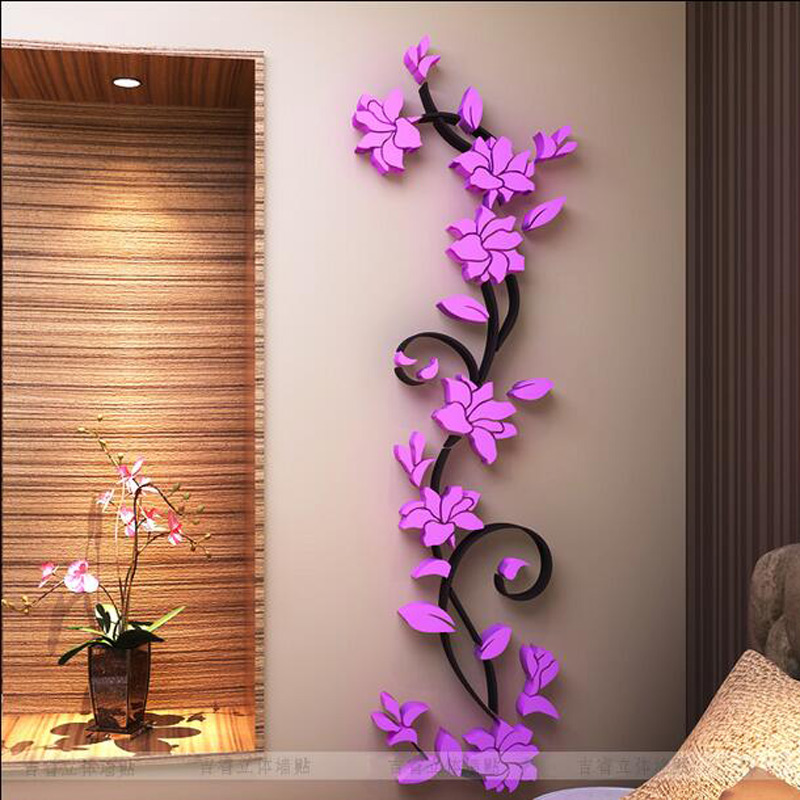 Free shipping 1Set Self Adhensive Fashion 3D Wall Sticker Decals for Living Room wall stickers home
