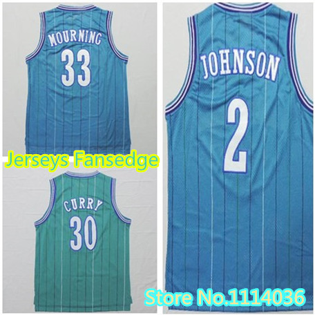 Wholesale Price Teal Green blue 33 Alonzo Mourning Larry Johnson Charlotte Baseketball Jersey Wardell Curry Throwback Jersey(China (Mainland))